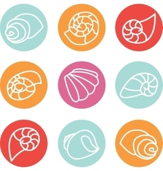 Set of colorful shell icons vector image vector image