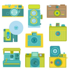 Set of flat photo cameras vector