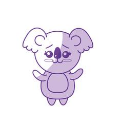 Silhouette cute koala wild animal with face vector