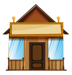 wooden hut with sign on top vector image vector image