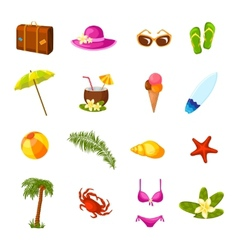 Beach multicolored icons set vector image
