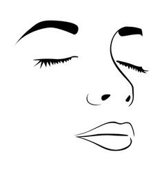closeup sketch female face silhouette vector image
