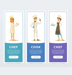 set of vertical banners with restaurant workers vector image vector image