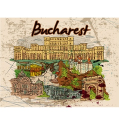 Bucharest doodles with grunge vector