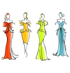 Modern and elegant dresses vector image vector image