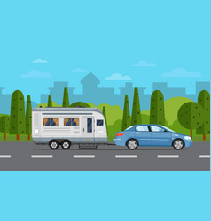 Road travel poster with car and trailer vector