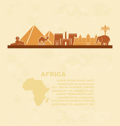 template of leaflets with the sights of africa and vector image vector image