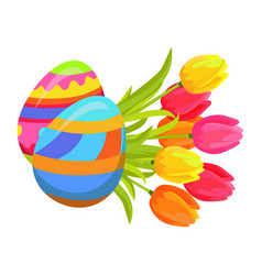 beautifully colored eggs and festive tulips art vector image vector image