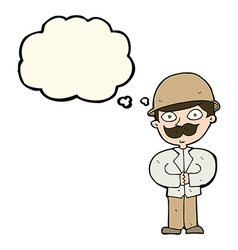 cartoon man in safari hat with thought bubble vector image vector image