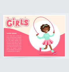 cute african girl jumping with skipping rope vector image vector image