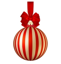 Red Christmas ball with bow EPS 10 vector image vector image