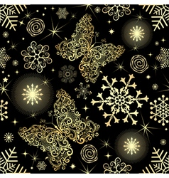 Seamless pattern with gold snowflakes vector