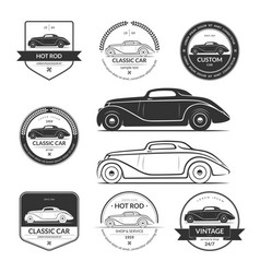 set of hot rod car labels emblems logos vector image