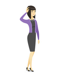 young asian business woman scratching her head vector image