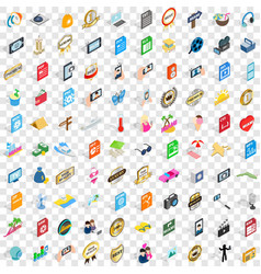 100 dj icons set isometric 3d style vector image