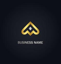 abstract arrow up gold logo vector image
