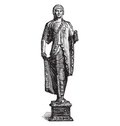 Archaistic statuette in the imitation of greek vector