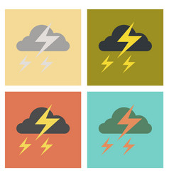 Assembly flat icons nature lightning cloud vector