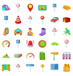 Auto icons set cartoon style vector
