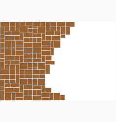 Block wall broken vector