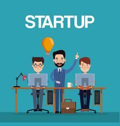 blue color background teamwork businessmen in vector image