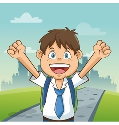 Boy cartoon of back to school design vector