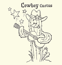 cactus christmas playing the guitar vector image