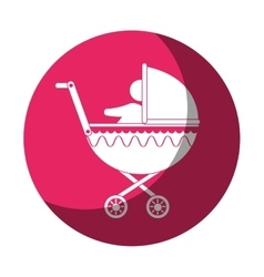 Cart baby silhouette icon vector