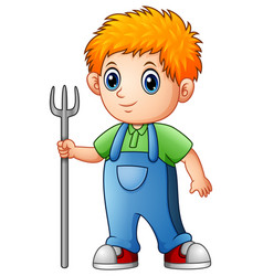 cartoon boy farmer holding rake vector image