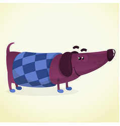 Cartoon of cute dachshund vector