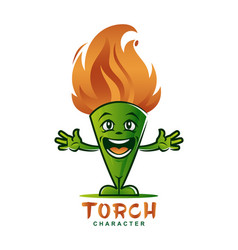cartoon torch mascot character with flaming head vector image