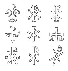 christian symbols icons set vector image
