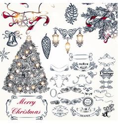 christmas hand drawn elements set xmas vector image
