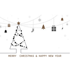 christmas tree and decorative modern flat style vector image