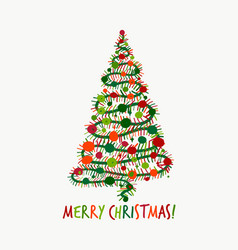 christmas tree greeting card for your design vector image