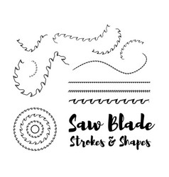 circular saw blade strokes and shapes on vector image