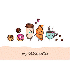 Coffee and sweets cute cartoon elements vector