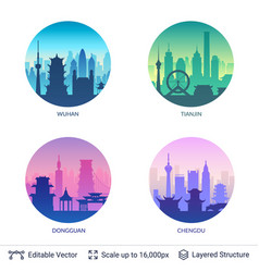 collection famous chinese city scapes vector image