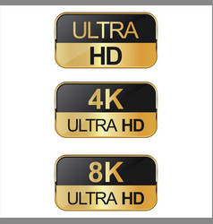 Collection of full hd 4k 8k and ultra hd icons vector
