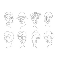 collection women faces vector image
