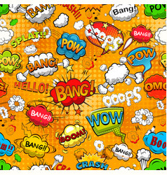 comic speech bubbles seamless pattern on orange vector image