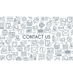 Contact us thin line banner vector