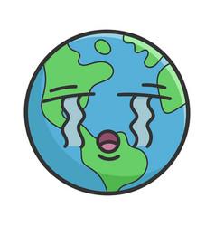 Crying planet earth cartoon vector