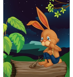 Crying rabbit vector image