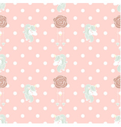 Cute pattern unicorn and old rose vector