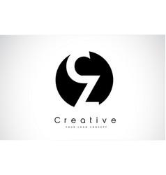 cz letter logo design inside a black circle vector image