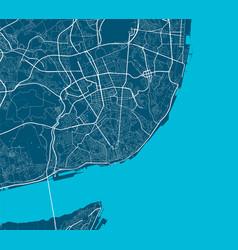 Detailed map lisboa city linear print map vector