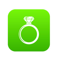 diamond engagement ring icon green vector image