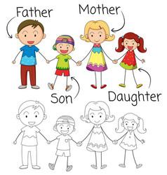 Doodle graphic family vector