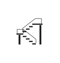 Double stairs black concept icon double vector